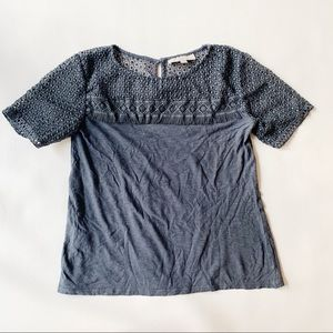LOFT Tops - 3 FOR $15 LOFT Petite Gray/Blue Eyelet Top XSP